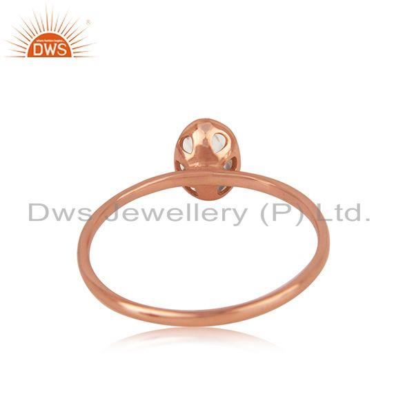Wholesalers Blue Topaz Handmade Rose Gold Plated Sterling Silver Ring Jewelry Wholesale