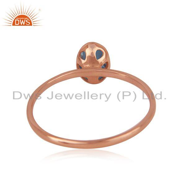 Wholesalers London Blue Topaz Roe Gold Plated 925 Silver Simple Ring Manufacturer India