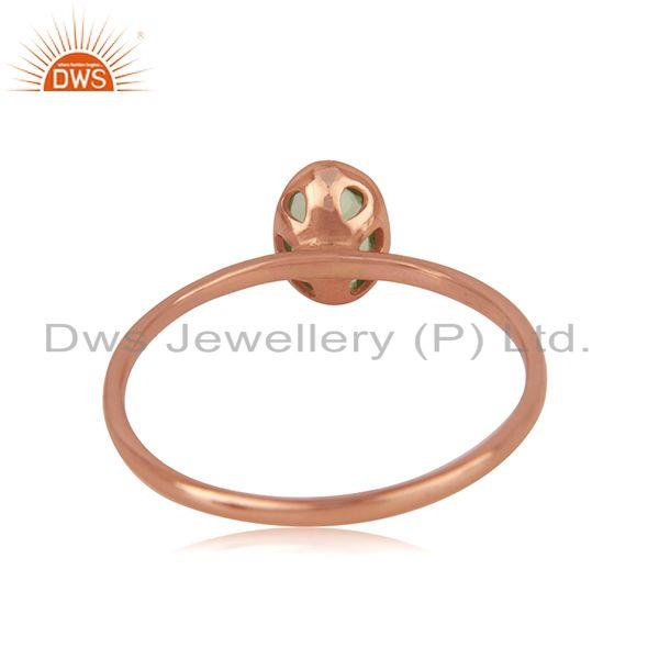 Wholesalers Oval Cut Peridot Gemstone Rose Gold Plated 925 Silver Ring Manufacturer Jaipur