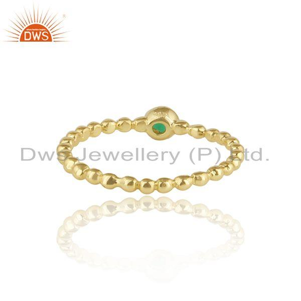 Exporter of 18k gold plated texture designer silver green onyx women rings