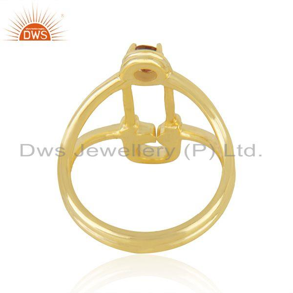 Wholesalers Safty Pin Shape Gold Plated Silver Garnet Gemstone Ring Jewelry