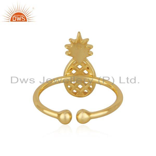 Wholesalers New Yellow Gold Plated Silver Pineapple Design Adjustable Ring Jewelry