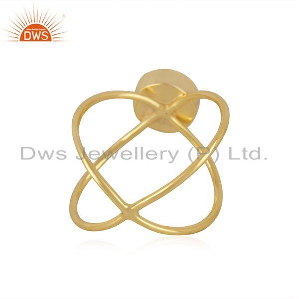 Wholesalers Yellow Gold Plated 925 Silver Rose Chalcedony Gemstone Ring Manufacturer India