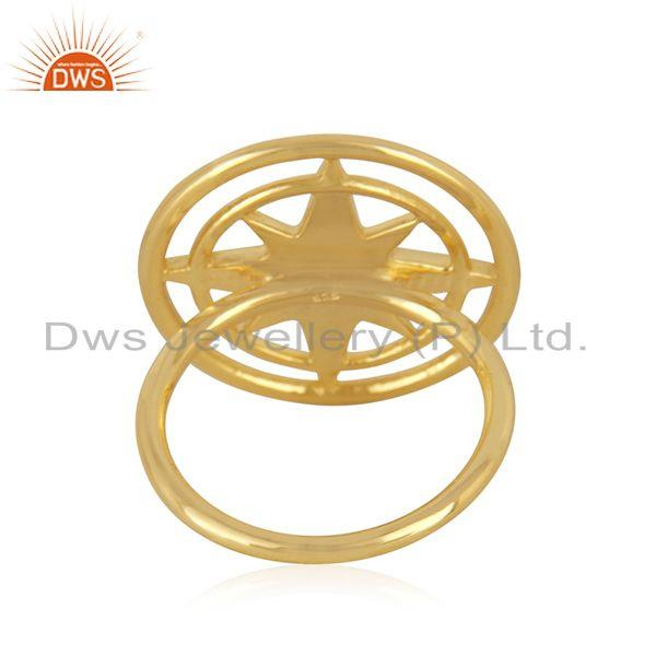 Wholesalers Compass Yellow Gold Plated 925 Silver Lucky Ring Wholesaler from Jaipur India