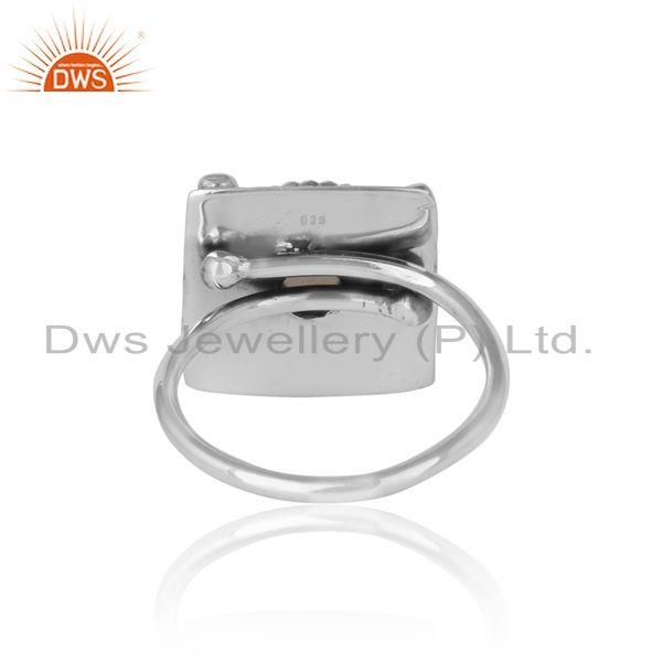 Exporter of Designer rings in oxidized silver and smoky gemstone