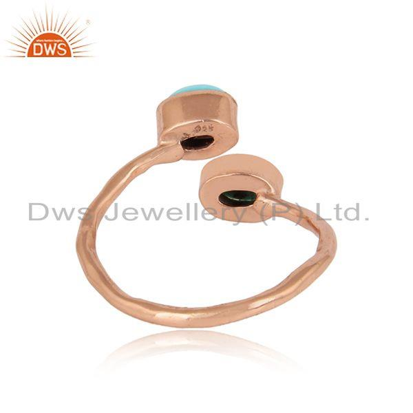 Exporter of Dainty designer bypass turquoise ring in rose gold on silver 925