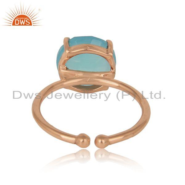 Exporter of Handcrafted solitaire aqua chalcedony ring in rose gold on silver