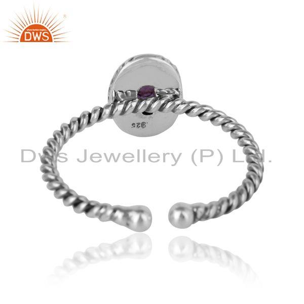 Exporter of Amethyst gemstone designer twisted silver oxidized ring jewelry