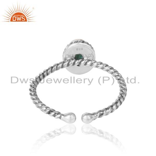 Exporter of Emerald gemstone designer twisted silver oxidized ring jewelry