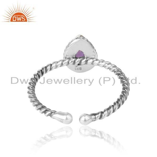Exporter of Amethyst gemstone designer 925 sterling silver oxidized rings