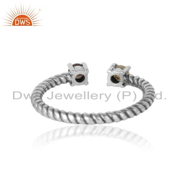 Exporter of Dainty twisted ring in oxidized silver smoky and ethiopian opal