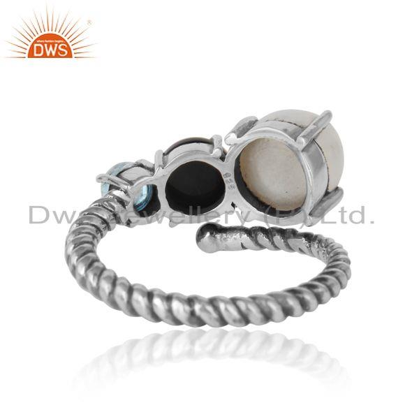 Exporter of Handmade ring in oxidized silver 925 pearl blue topaz black onyx