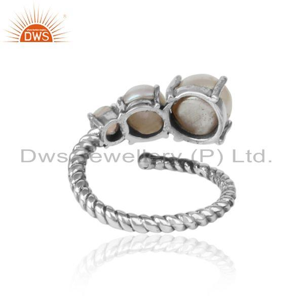 Exporter of Handmade designer ring in oxidized silver pearl and ethiopian opal
