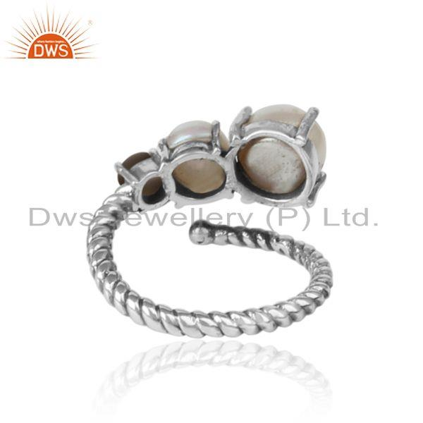 Exporter of Handmade designer ring in oxidized silver 925 pearl and smoky