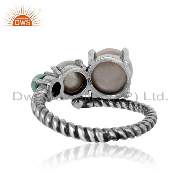 Exporter of Handmade designer ring in oxidized silver pearl arizona turquoise