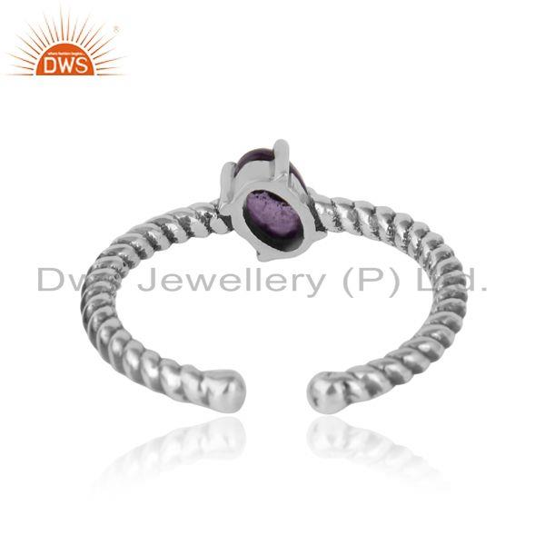Exporter of Dainty oxidized silver ring adorn with tilted natural amethyst