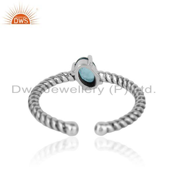 Exporter of Dainty oxidized silver ring adorn with tilted natural blue topaz
