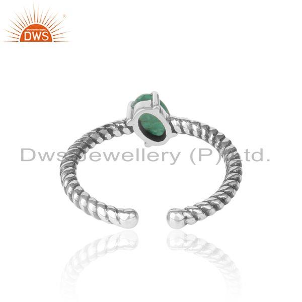 Exporter of Dainty oxidized silver ring adorn with tilted natural emerald