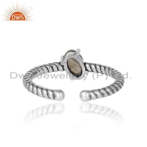 Exporter of Dainty oxidized silver ring adorn with tilted natural labradorite