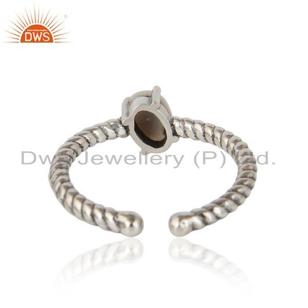Exporter of Dainty oxidized silver ring adorn with tilted natural pearl