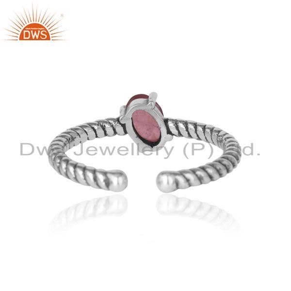 Exporter of Dainty oxidized silver ring adorn with tilted pink tourmaline