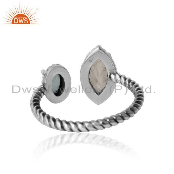 Exporter of Twisted designer oxidized ring in silver blue topaz and crystal