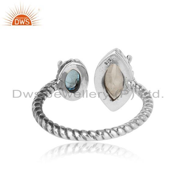 Exporter of Oxidized silver twisted ring with rainbow moonstone blue topaz