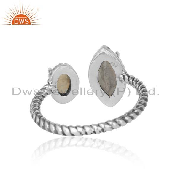 Exporter of Oxidized silver twisted ring with rainbow moonstone ethiopian opal