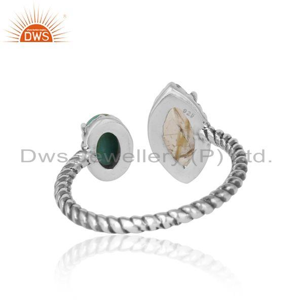 Exporter of Oxidized silver twisted ring with golden rutile arizona turquiose