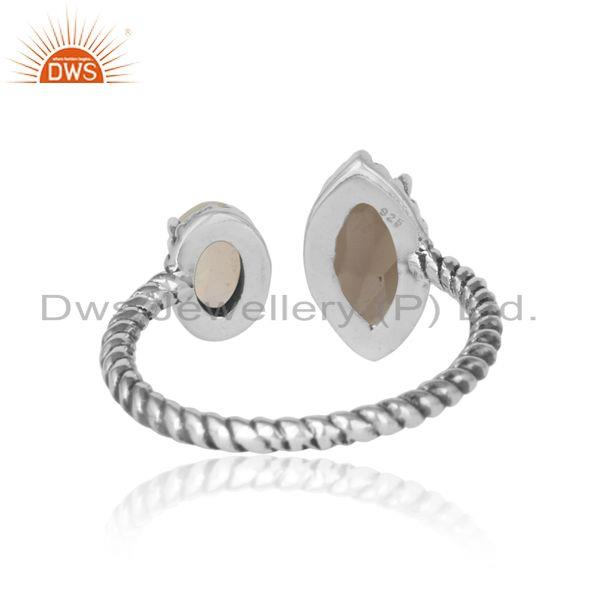 Exporter of Oxidized silver twisted ring with smoky and ethiopian opal