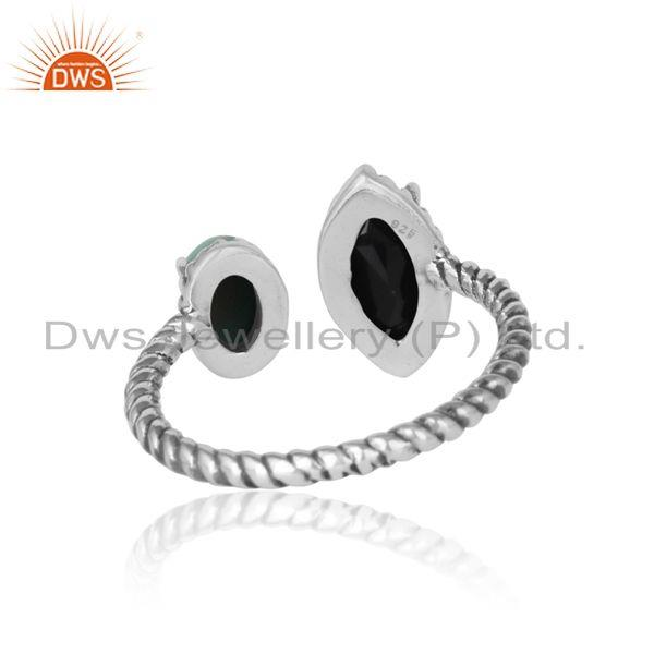 Exporter of Oxidized silver twisted ring with black onyx arizona turquiose