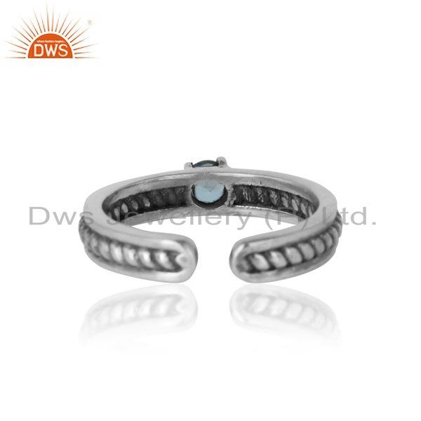 Exporter of Designer twisted ring in oxidized silver 925 and blue topaz