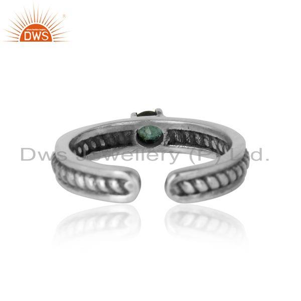 Exporter of Designer twisted ring in oxidized silver 925 and emerald