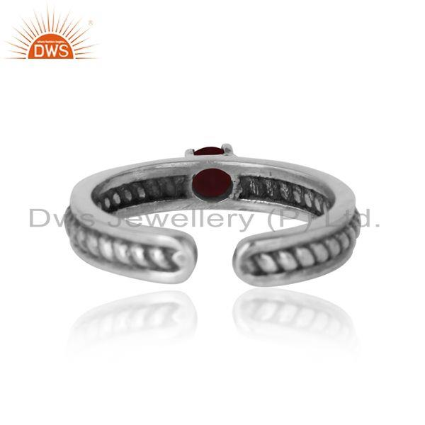 Exporter of Designer twisted ring in oxidized silver 925 and ruby