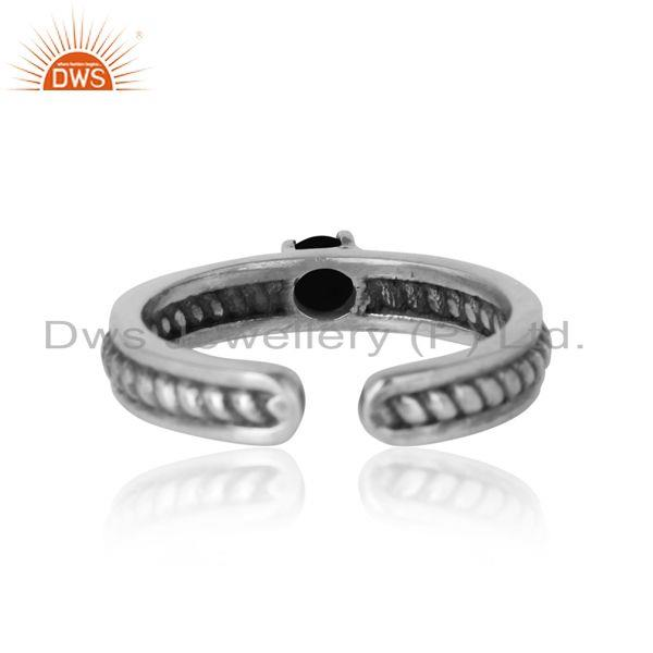 Exporter of Designer twisted ring in oxidized silver 925 and black onyx