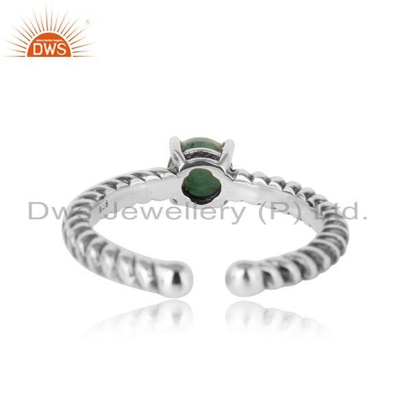 Exporter of Designer textured emerald ring in oxidised silver 925
