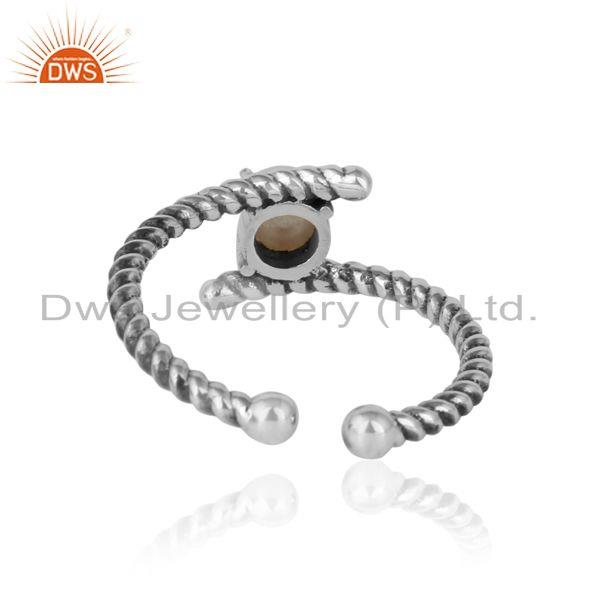 Exporter of Dainty twisted ring in oxidized silver 925 with pearl