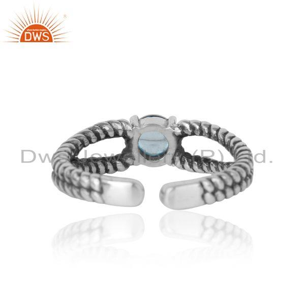 Exporter of Blue topaz designer twisted ring in oxidized silver 925