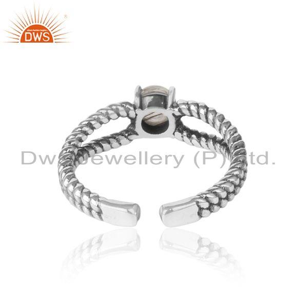 Exporter of Black rutile designer twisted ring in oxidized silver 925