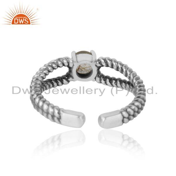 Exporter of Designer twisted ring in oxidized silver 925 with black rutile