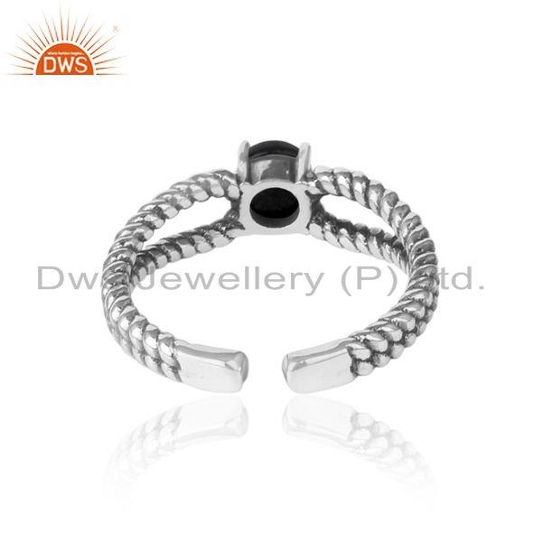Exporter of Designer twisted ring in oxidized silver 925 with black onyx