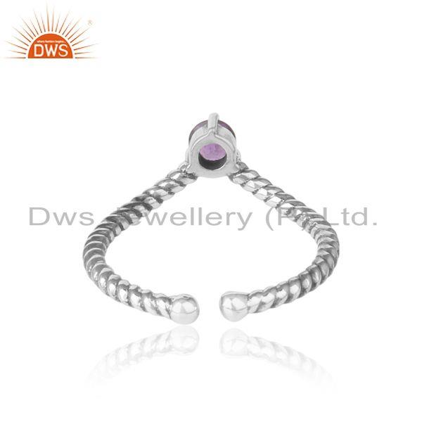 Exporter of amethyst dainty designer twisted ring in oxidized silver 925