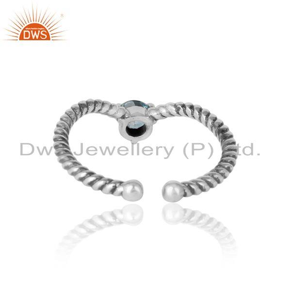Exporter of Blue topaz dainty designer twisted ring in oxidized silver 925