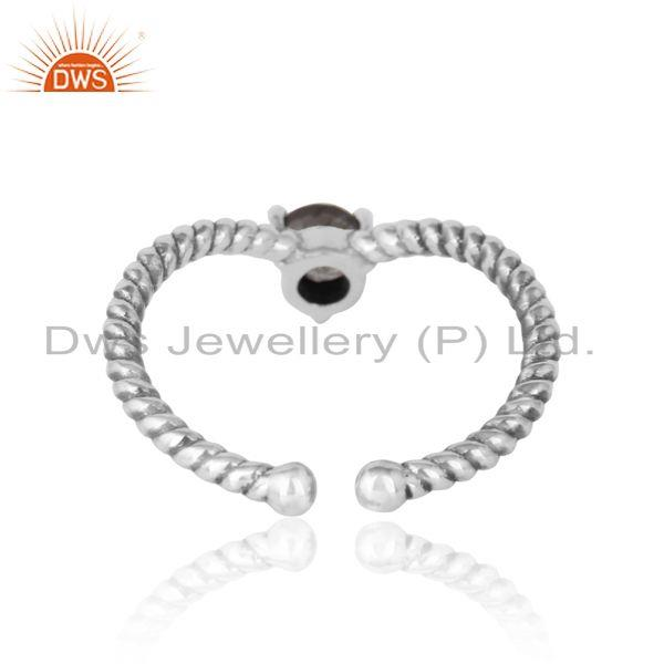 Exporter of black rutile dainty designer twisted ring in oxidized silver 925