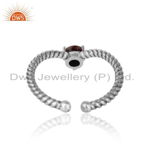 Exporter of garnet dainty designer twisted ring in oxidized silver 925