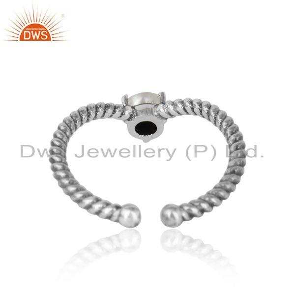 Exporter of pearl dainty designer twisted ring in oxidized silver 925