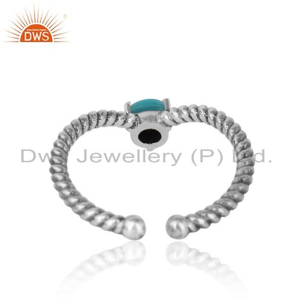 Exporter of arizona turquoise dainty designer twisted ring in oxidized silver