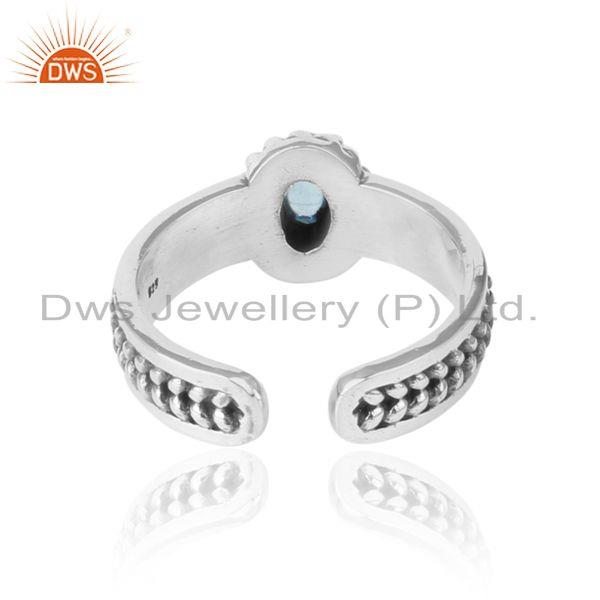 Exporter of Blue topaz handcrafted designer ring in oxidized silver 925