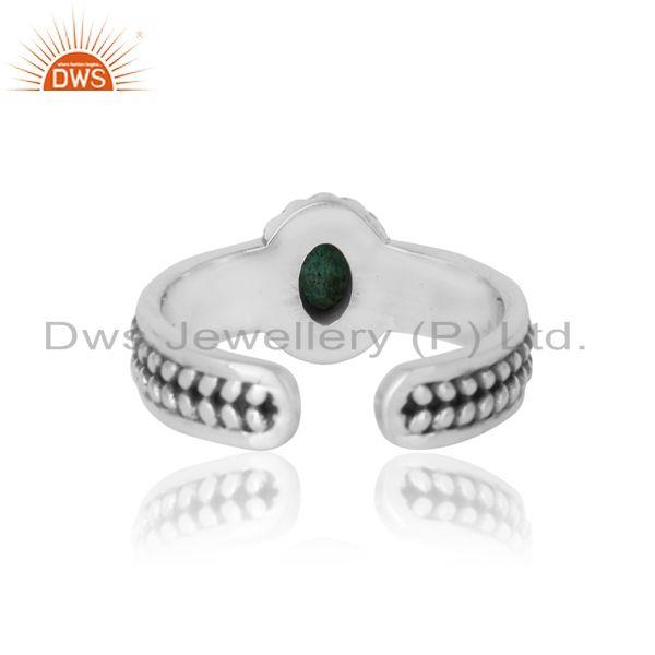 Exporter of Natural emerald bold designer ring in oxidized silver 925