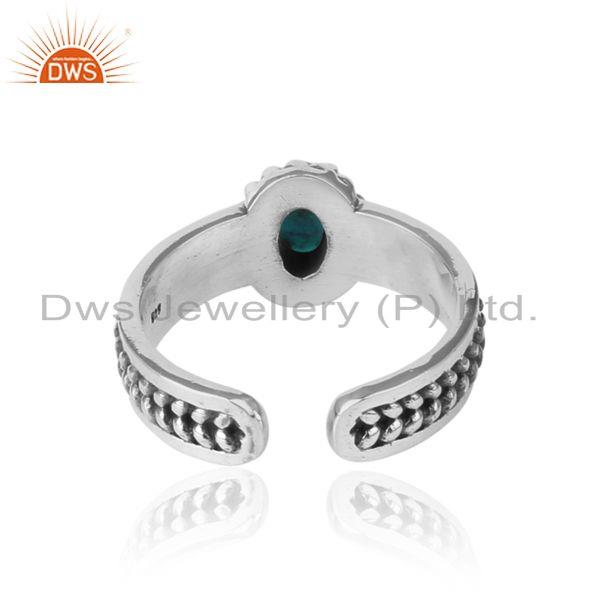 Exporter of Arizona turquoise handcrafted designer ring in oxidized silver 925